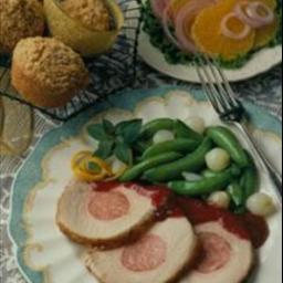Sausage Stuffed Pork Loin with Apricot-Mustard Glaze