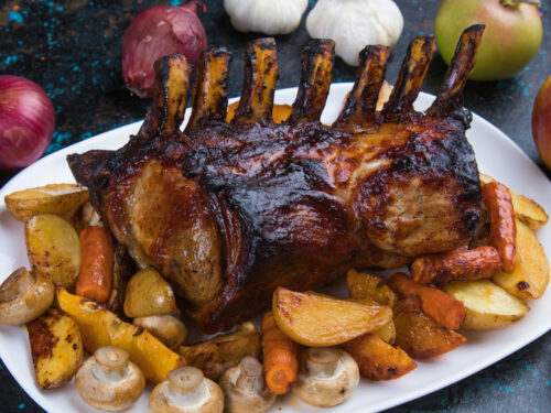 Roasted,rack,of,pork,,pork,loin,roast,with,frenched,ribs