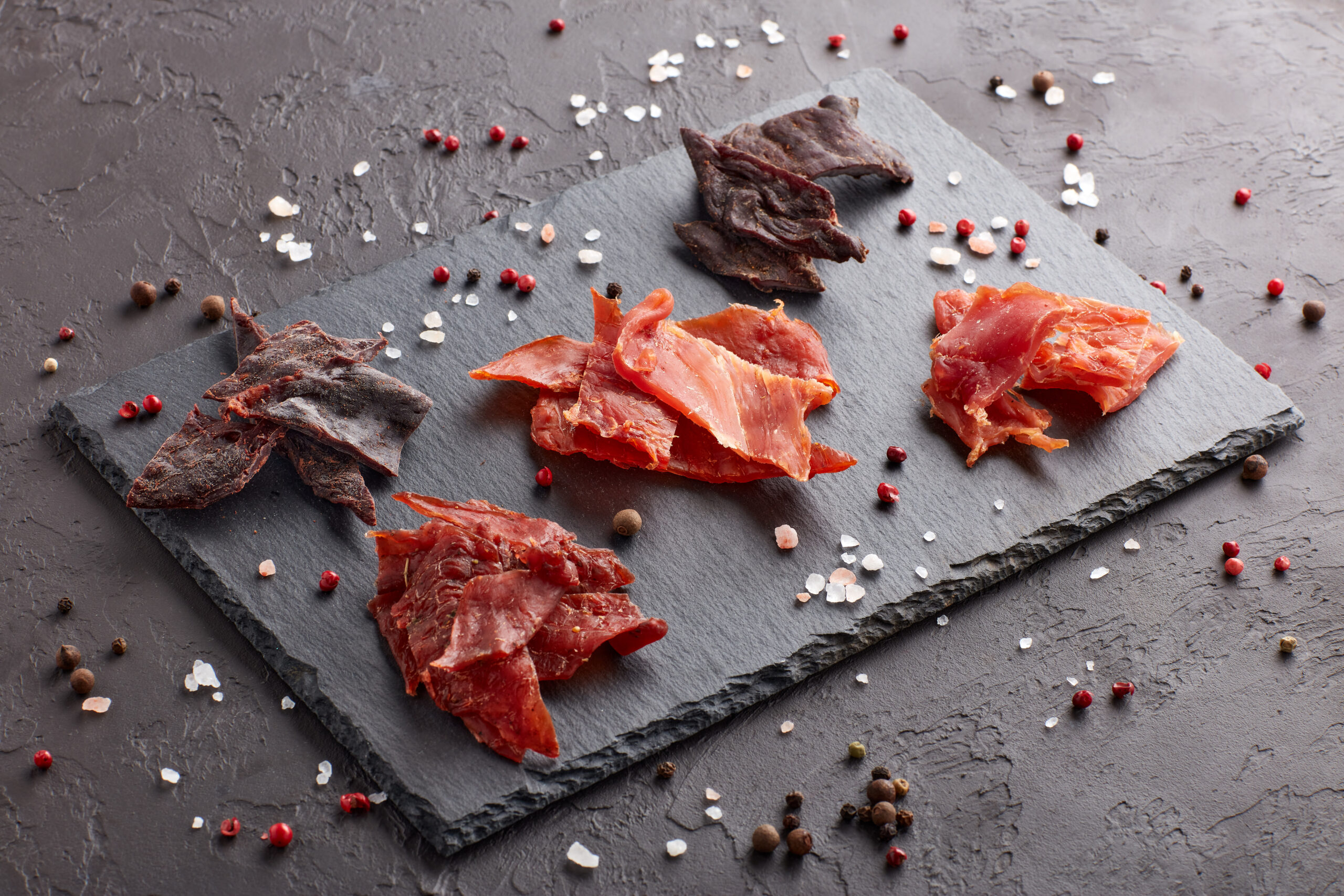 Jerky.,set,of,various,kind,of,dried,spiced,meat,on